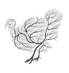 farm animals stylized bushes turkey vector image vector image