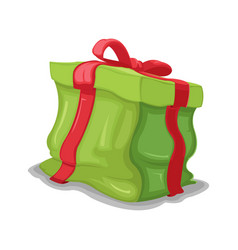Gift green box dented crush vector