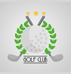 golf club ball and clubs cross emblem sport vector image
