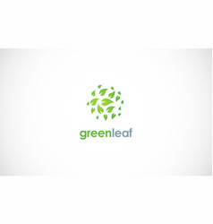 Green leaf round logo vector
