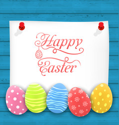 Greeting paper card with easter ornamental eggs vector