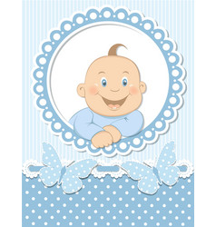 Happy baby boy scrapbook blue frame vector image vector image