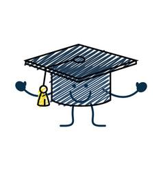 Happy graduation cap icon vector