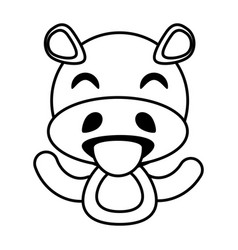 Hippo animal toy outline vector