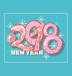 Holiday pattern with color hand lettering 2018 and vector