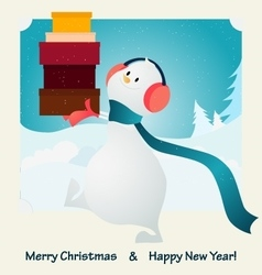 Merry christmas happy snowman vector