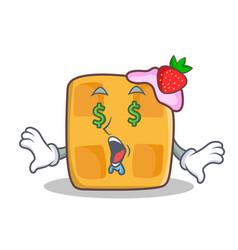 Money eye waffle character cartoon design vector
