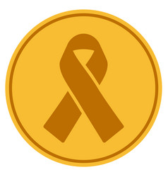 Mourning ribbon gold coin vector