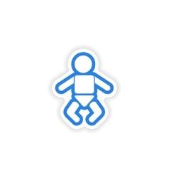 Paper sticker on white background newborn baby vector