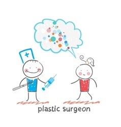 plastic surgeon holding a scalpel and syringe and vector image vector image