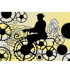retro biker on the gears vector image vector image