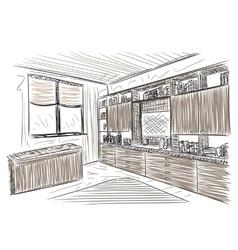 Room interior sketch vector image vector image