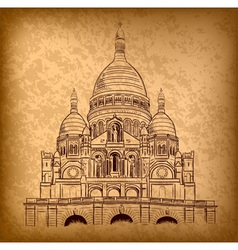 sacre coeur on the old paper vector image vector image