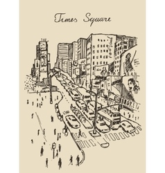 street in New York city hand drawn vector image