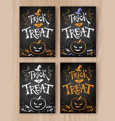 trick or treat halloween postcards vector image