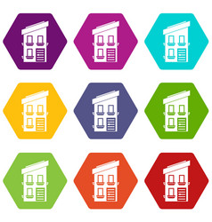 two-storey house icon set color hexahedron vector image