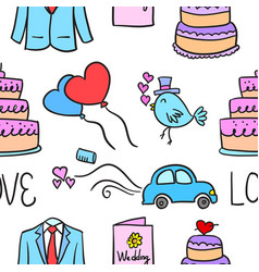 Wedding element doodle style collection vector
