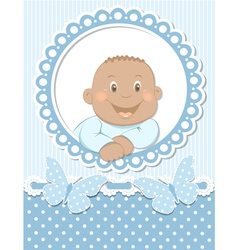Happy African baby boy scrapbook blue frame vector image