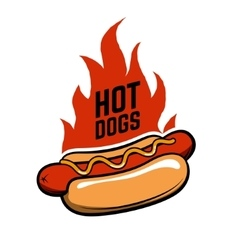 Hot dogs hot dog in retro style with fire vector