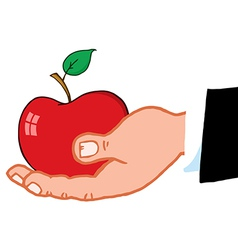 Business hand holding red apple vector