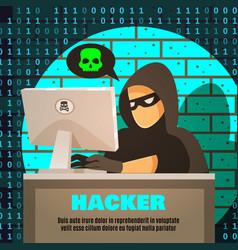 hacker near computer vector image