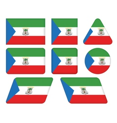 Buttons with flag of equatorial guinea vector