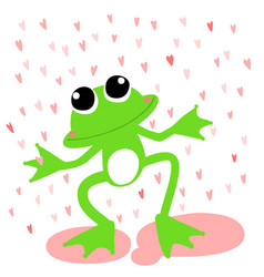 green frog love rainy day vector image