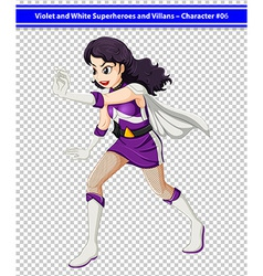 A female violet and white superhero vector image