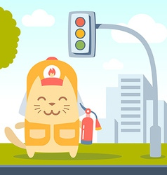 Character firefighter in coveralls and helmet vector