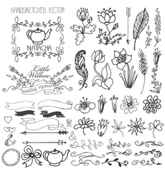 Doodle swirlsribbonsfloral decor element for vector