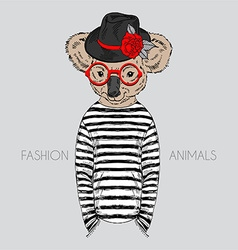 Fashion animal anthropomorphic design furry art vector