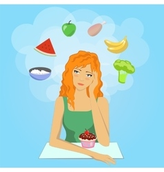 Girl decides to start a diet want eat healthy vector