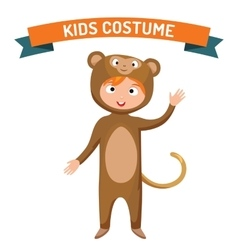 Monkey kid costume isolated vector