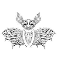 Zentangle bat totem for adult anti stress coloring vector