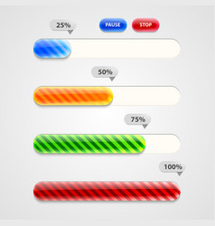 Web progress bar downloading set vector