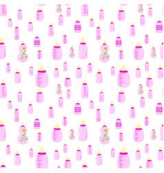 Bottle baby seamless pattern for children girls vector