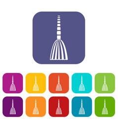 Broom floor icons set vector