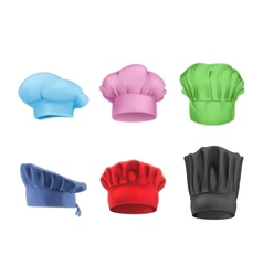Chef hats multicolored set vector image