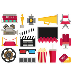 Cinema icons flat making film and watch movie in vector