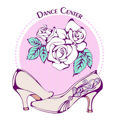 Dance line color ballroom standard shoes vector