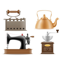 Domestic appliances old retro vintage set icons vector