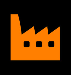 Factory sign orange icon on black vector