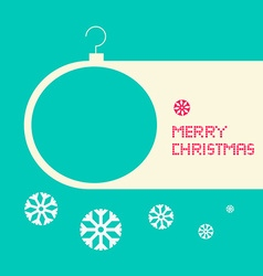 Flat Design Retro Blue Merry Christmas Card vector image vector image