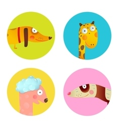 Fun Cartoon Baby Animals Icons Collection Set for vector image vector image
