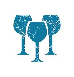 Grunge wine glass icon vector image