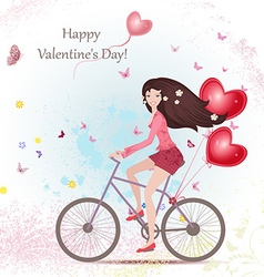 happy young woman on a bicycle with red heart air vector image