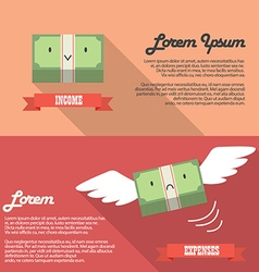 Income and expenses money bill infographic vector image vector image