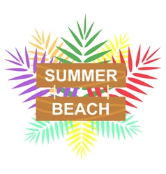 Label summer beach vector