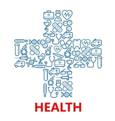 Medical cross symbol made of blue medicine icons vector