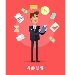 Planing concept in flat design vector